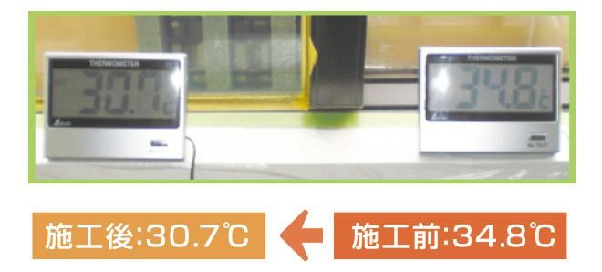施工前:34.8度→施工後30.7度