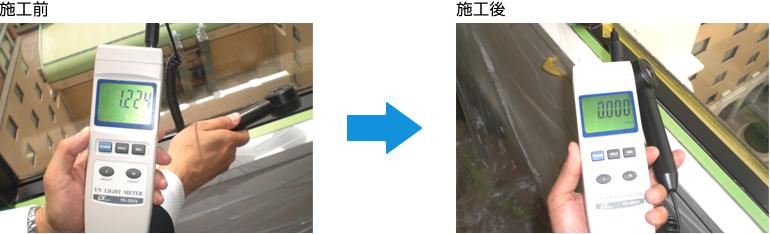 紫外線カット:施工前→施工後
